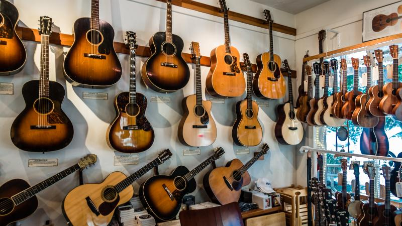 Quite a collection of vintage acoustic guitars in Tiburon, California.