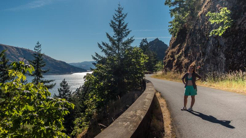 Checking out the old Gorge Highway that is now a trail.