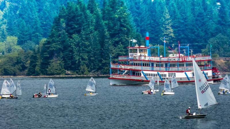 Sternwheeler cruises through the opti race course.