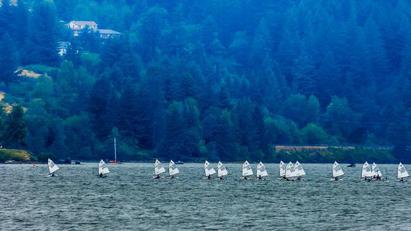 Simon out ahead. he had a great regatta.
