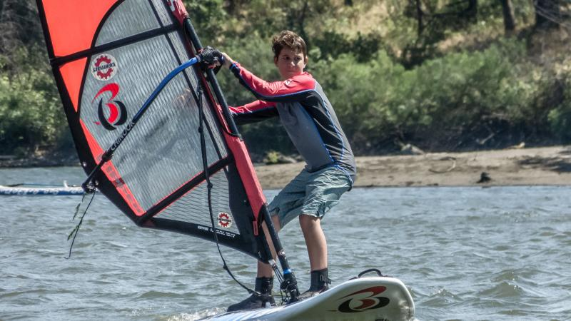 Simon Boeger learning how to windsurf.