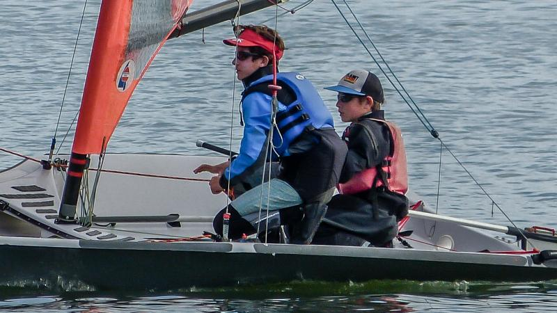 Simon and Henry sailing 29'ers at Richmond Yacht Club