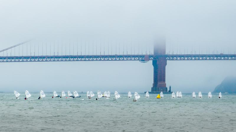 Opti's making their way to windward mark at the Heavy Weather Regatta