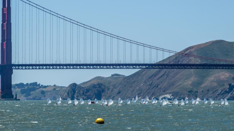 Optimist racing with Golden Gate Bridge backdrop