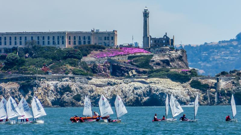 Opti racing with Alcatraz backdrop