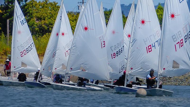 Laser fleet at Summer BAYS #2 - Encinal Yacht Club