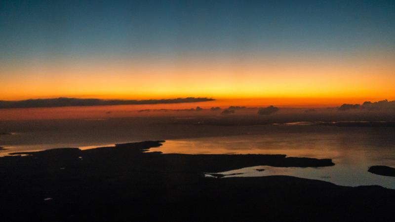 Parana River at sunset.