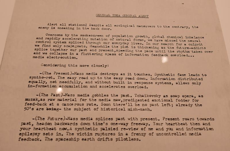"""A statement from the """"General Idea"""" exhibit... a warning from the 1970's that seems prescient today."""