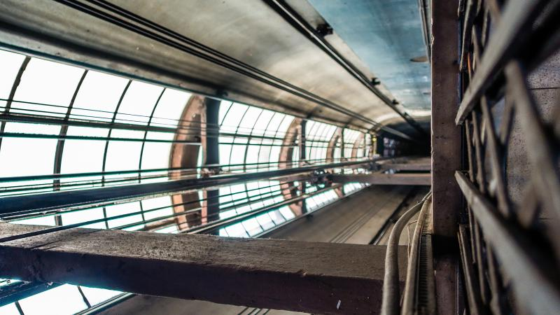 Inside the elevator shaft of the Palacio Borolo