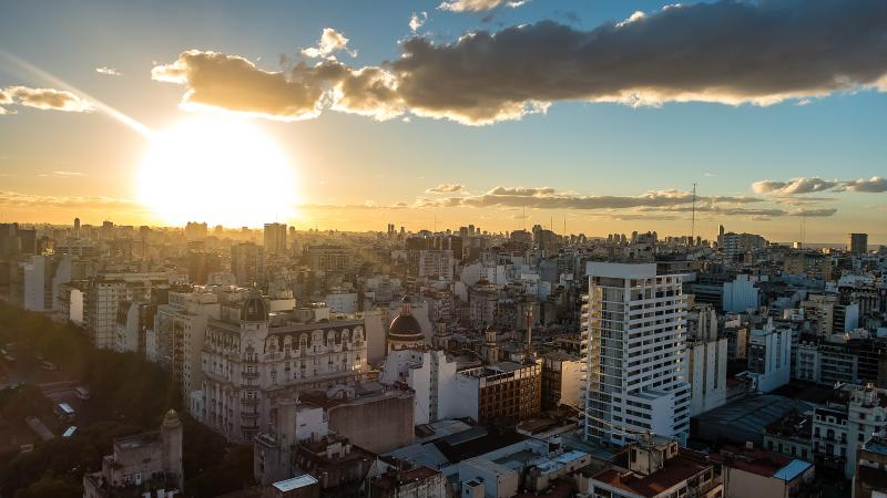 Sun sets on Buenos Aires.