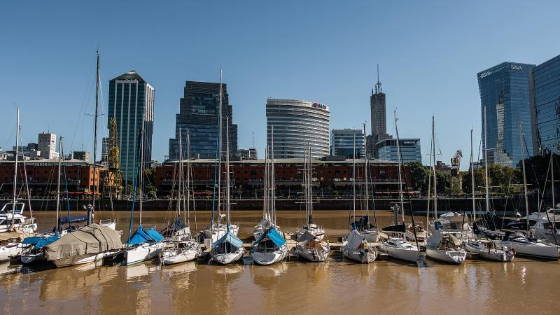 "Along the ""locks"" of the Puerto Madero area."