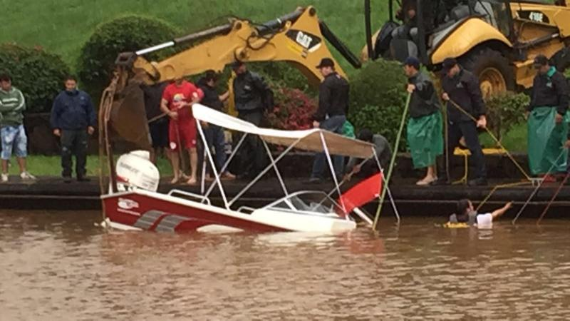 Following the storm, several boats sank.