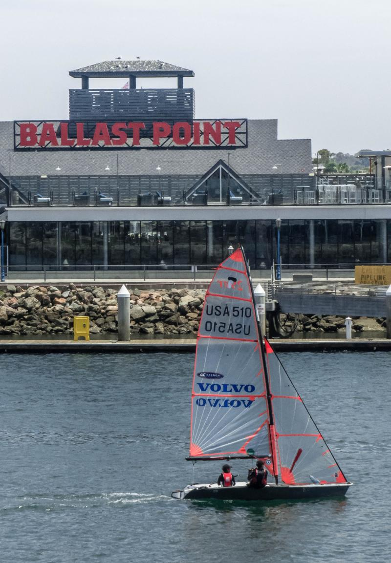View from Alamitos Bay Yacht Club with Ballast Point Brewery across the channel.