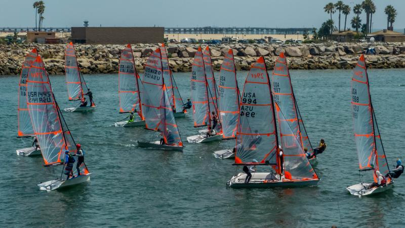Skiff Squad USA does a practice start in the channel.