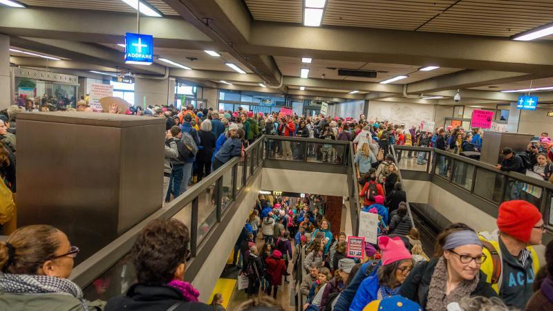 Lake Merritt BART station on morning of the Women's March