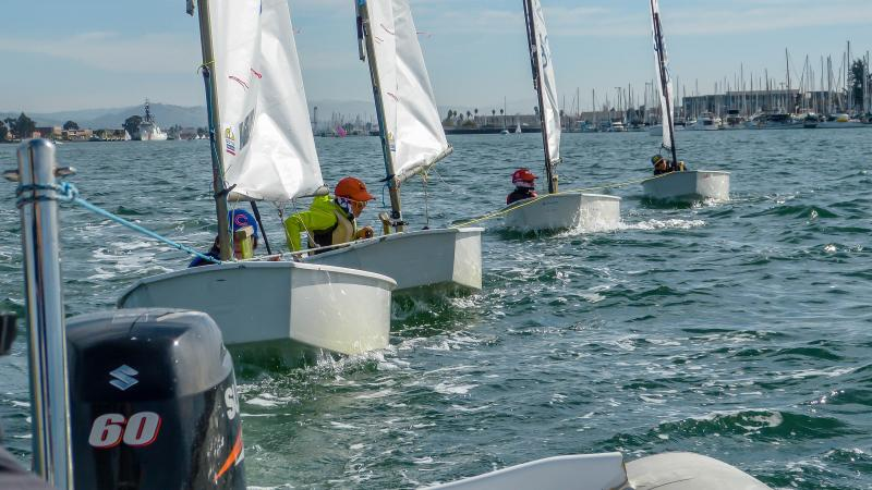 Towing out the EYC opti team