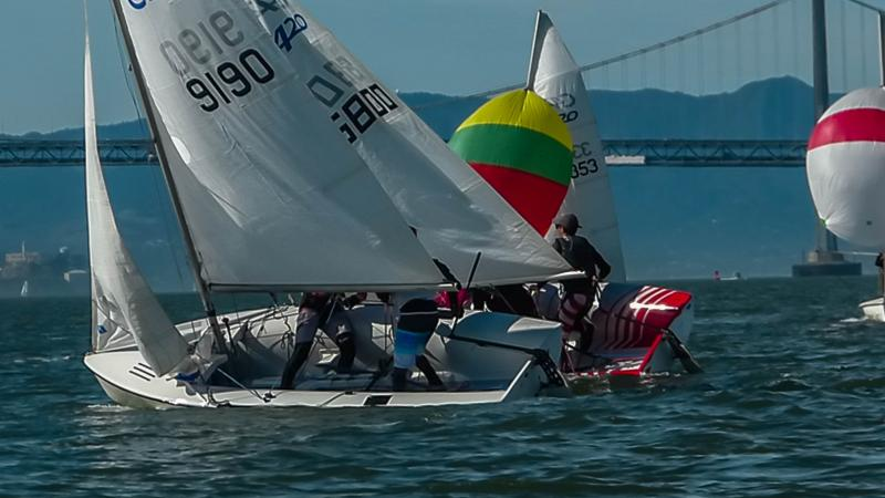 """Simon in Michael in the """"red"""" boat - racing c420's"""