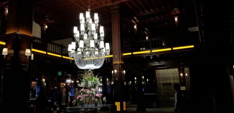 Main lobby of Del Coronado at night