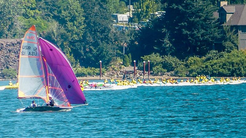 Notice all the kayaks lining up for a gigantic down-wind / up current race in the background