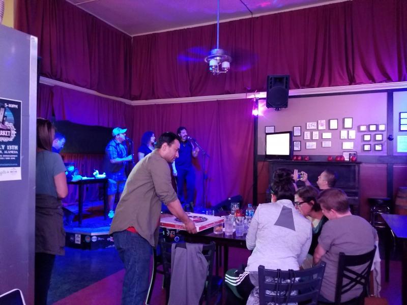 Pizza delivered to the karaoke show - Fireside Tavern, Alameda.