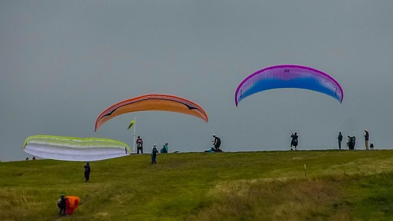 Paragliders up above Santa Barbara