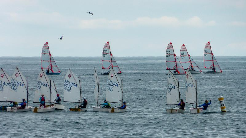Opti's in foreground, 29'ers in background at Santa Barbara