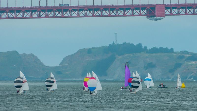 c420 racing. Simon and Jasper are the red, white, and blue spinnaker.