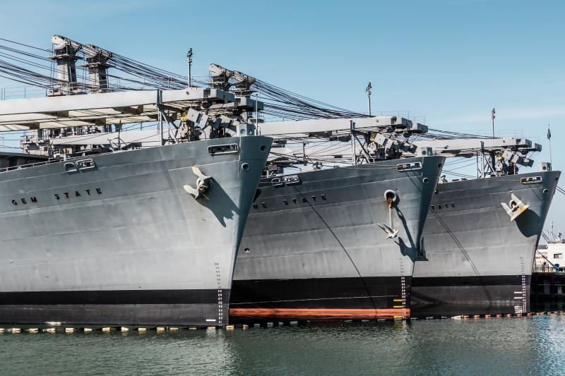 Logistics ships at Alameda Point