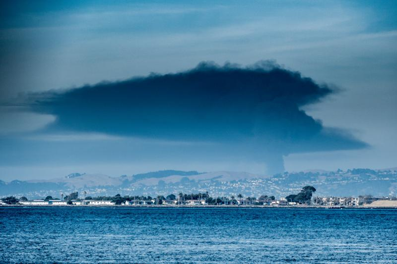 Refinery explosion out east in Crockett, as viewed from SF ferry station.