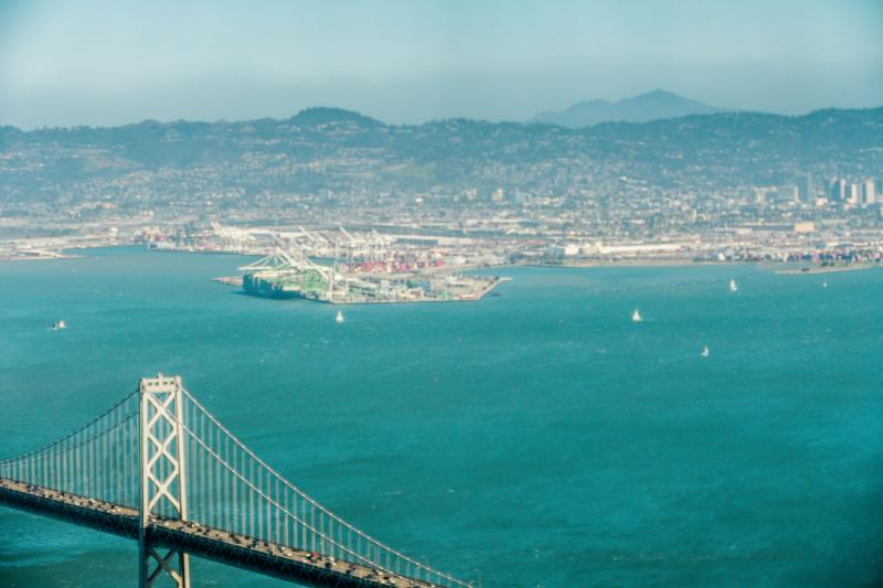 Looking east over the Bay Bridge to Alameda Point