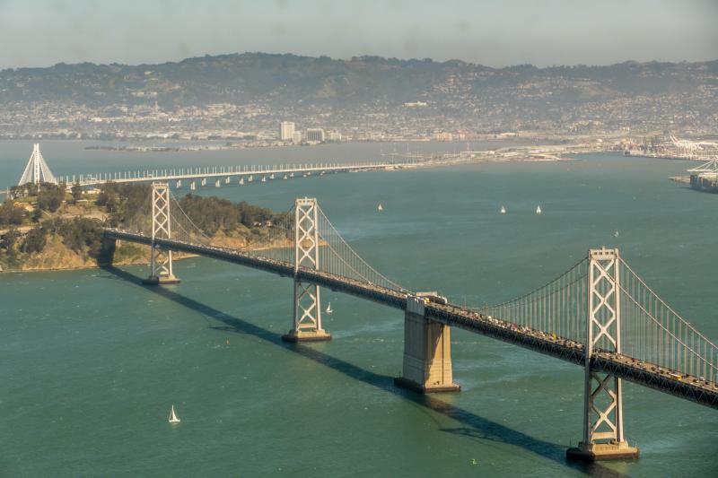 Both spans of the Bay Bridge