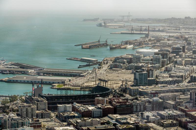 Giants' Baseball stadium (near) and new Warriors arena (white dome.)