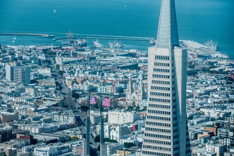 Transamerica Pyramid building from above.