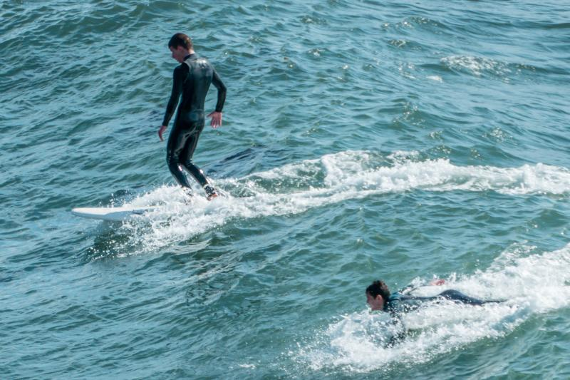 Henry surfing at The Hook, Santa Cruz