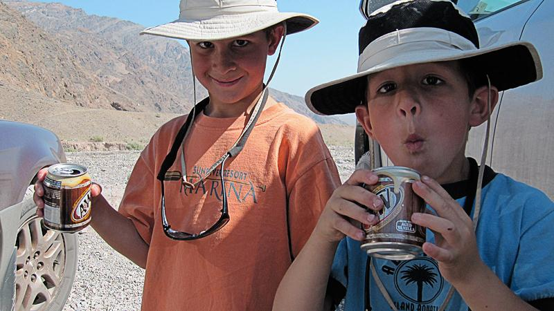 Refreshing root beers after hiking Titus Canyon